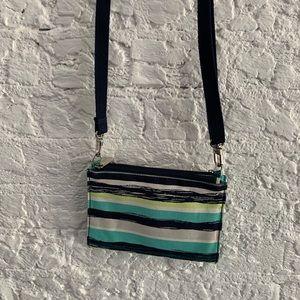 Thirty-one blue/teal stripe crossbody/ clutch
